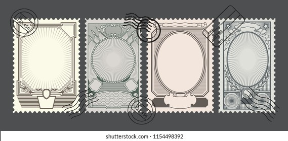 Vector Retro Postage Stamps Backgrounds