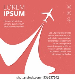 Vector retro poster with airplanes and stream jet, minimalistic style. Flyer for travel agencies, aviation companies