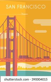 Vector retro poster in art Deco style. San Francisco. California. The Golden Gate Bridge. Flat design.