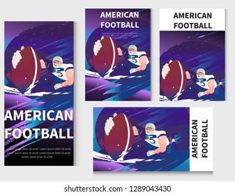 Vector retro poster design. American football cartoon scene character. Sport people illustration. American football player in the action in stadium.