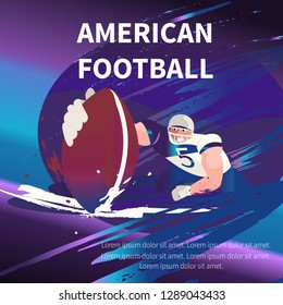 Vector retro poster design. American football cartoon scene character. Sport people illustration. American football player in the action in stadium.