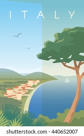 Vector retro poster. Italian city on the Mediterranean sea. Vacation in Italy. Flat design.