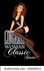 Vector retro poster lingerie store