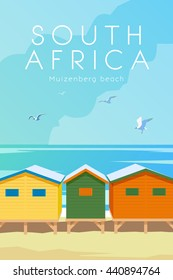 Vector retro poster. Muizenberg beach. Holidays in Cape town, South Africa. Flat design.