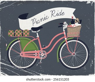 Vector retro poster on picnic ride with vintage bicycle with dress guard, wicker basket full of food like wine bottle, bread and apple and folded blanket fastened to rear rack. Old paper texture