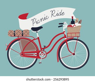 Vector retro poster on picnic ride with vintage bicycle with dress guard, wicker basket full of food like wine bottle, bread and apple and folded blanket fastened to rear rack, blue background