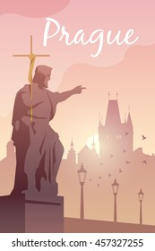 Vector retro poster. Prague. Charles bridge. Flat design.