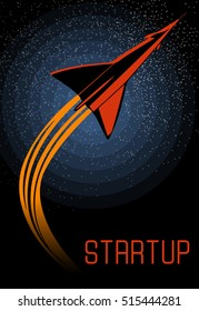Vector retro poster with rocket launch to the stars. Vector design template for startup project