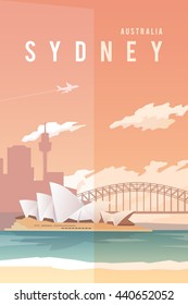 Vector retro poster. Sydney, Australia. Opera house. Harbour bridge. Flat design.