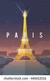 Vector retro poster. Vacation in Paris. Eiffel tower at night. France. Flat design.