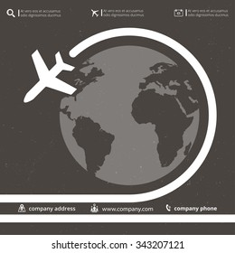 Vector retro poster wit airplane and airplane stream jet, minimalistic style, for travel agencies, aviation companies