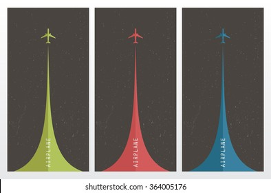 Vector retro posters with airplanes and airplane stream jet, pop - art minimalistic style, cards for travel agencies, aviation companies. Airplanes in the sky.