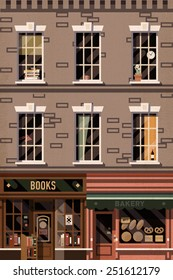 Vector retro printable poster design background on downtown brick building structure facade with detailed windows, retro bookshop and local bakery storefronts