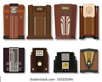 Vector Retro Radio from the Thirties, Forties. Vintage Receivers Set