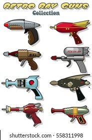 Vector Retro Ray Guns Set Laser Weapon from the Retro Movies
