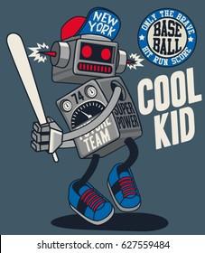 vector retro robot, baseball player