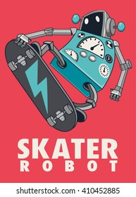 vector retro robot on skateboard, skater