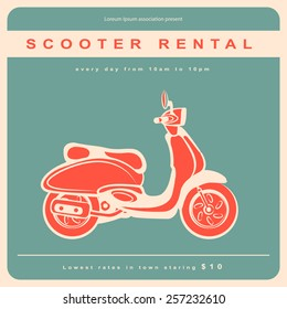 Vector retro scooter illustration