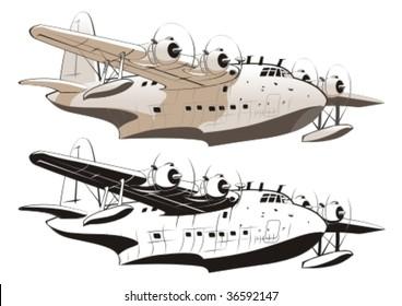 Vector retro seaplane 40-s