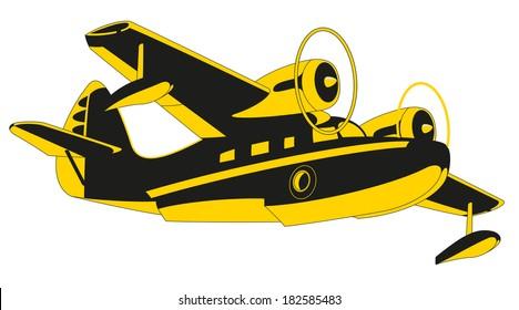 Vector retro seaplane. Illustration clip art