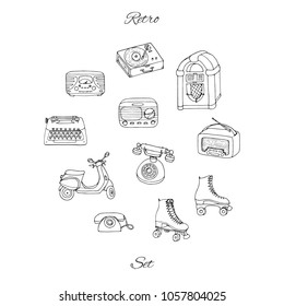 Vector retro set with antique tech, scooter, juke box, radio, typewriter, roller skates and vinyl record player. Hand drawn collection of vintage objects.