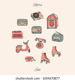 Vector retro set with antique tech, scooter, juke box, radio, typewriter, roller skates and vinyl record player. Hand drawn collection of vintage objects. For flea markets and shops.