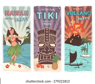 Vector Retro set of banners with  Hawaiian symbols