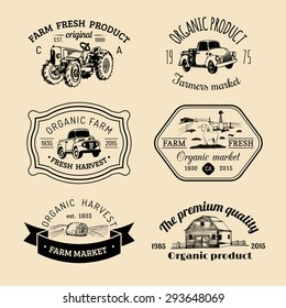 Vector retro set of family farm logotypes. Organic premium quality products badges collection. Eco food signs. Vintage hand sketched agricultural equipment labels.