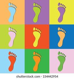 Vector retro set footprint-eps10