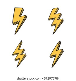 Vector retro set with lightning bolt signs in comic style