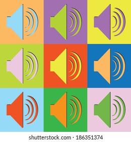 Vector retro set loudspeaker-eps10