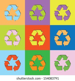 Vector retro set recycle-eps10