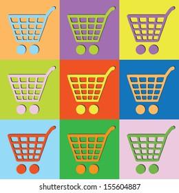 Vector retro set shopping cart-eps10