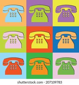 Vector retro set telephone-eps10