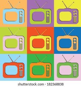 Vector retro set  TV-eps10