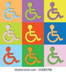 Vector retro set wheelchair-eps10