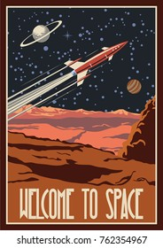 Vector Retro Space Poster. Stylization under the Mid Century American Space Propaganda
