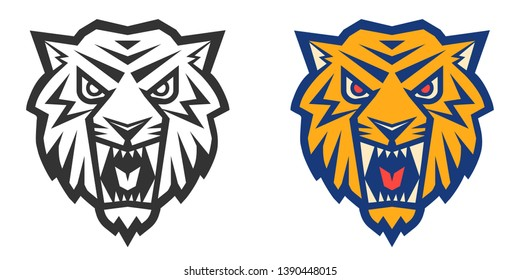 Vector retro sport logo with head of a tiger. Vintage print for t-shirt with angry tiger