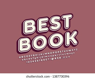 Vector retro style emblem Best Book, Vintage 3D Font. Isometric ALphabet Letters, Numbers and Symbols