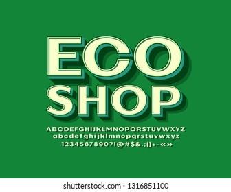 Vector retro style Emblem Eco Shop with green 3D Alphabet Letters. Vitage stylish Font.