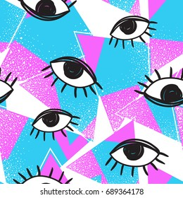 Vector retro style futuristic seamless pattern. Vintage colorful background. All seeing eye symbol. Eighties fashion illustration. 80s fashion, 80s party, 80s style. Best template for your design.
