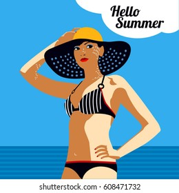 71173f001b vector retro style girl with hat on the beach