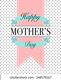 Vector retro style isolated greeting to Mom with banners and ribbons on white background with dots