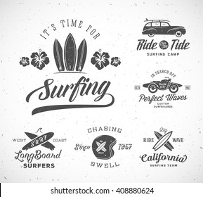 Vector Retro Style Surfing Labels, Logo Templates or T-shirt Graphic Design Featuring Surfboards, Woodie Car, Motorcycle Silhouette, Helmet. Good for Posters, Cards. With Shabby Textures. Isolated.