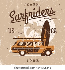Vector retro style weathered Surfriders t-shirt graphics design featuring surf woodie car, palm silhouette and seagulls with shabby textures on separate layers | Vintage wall art poster on surfing