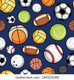 Vector retro styled colorful sport balls seamless pattern or background