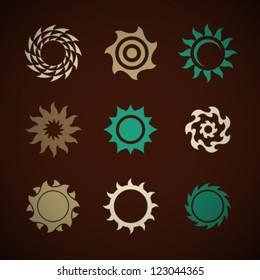 Vector Retro Sun Icons Set