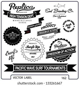 vector retro surf label and banner set.
