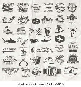 vector retro surf label set.