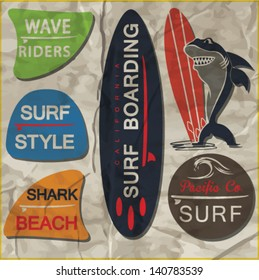 vector retro surf label set.Shark cartoon hero.